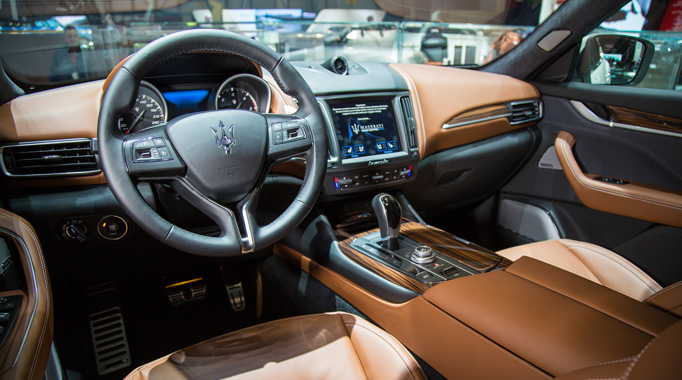 astonishing-design-of-the-brown-leather-maserati-levante-2016-interior-with-brown-dashboard-ideas-with-blak-stir