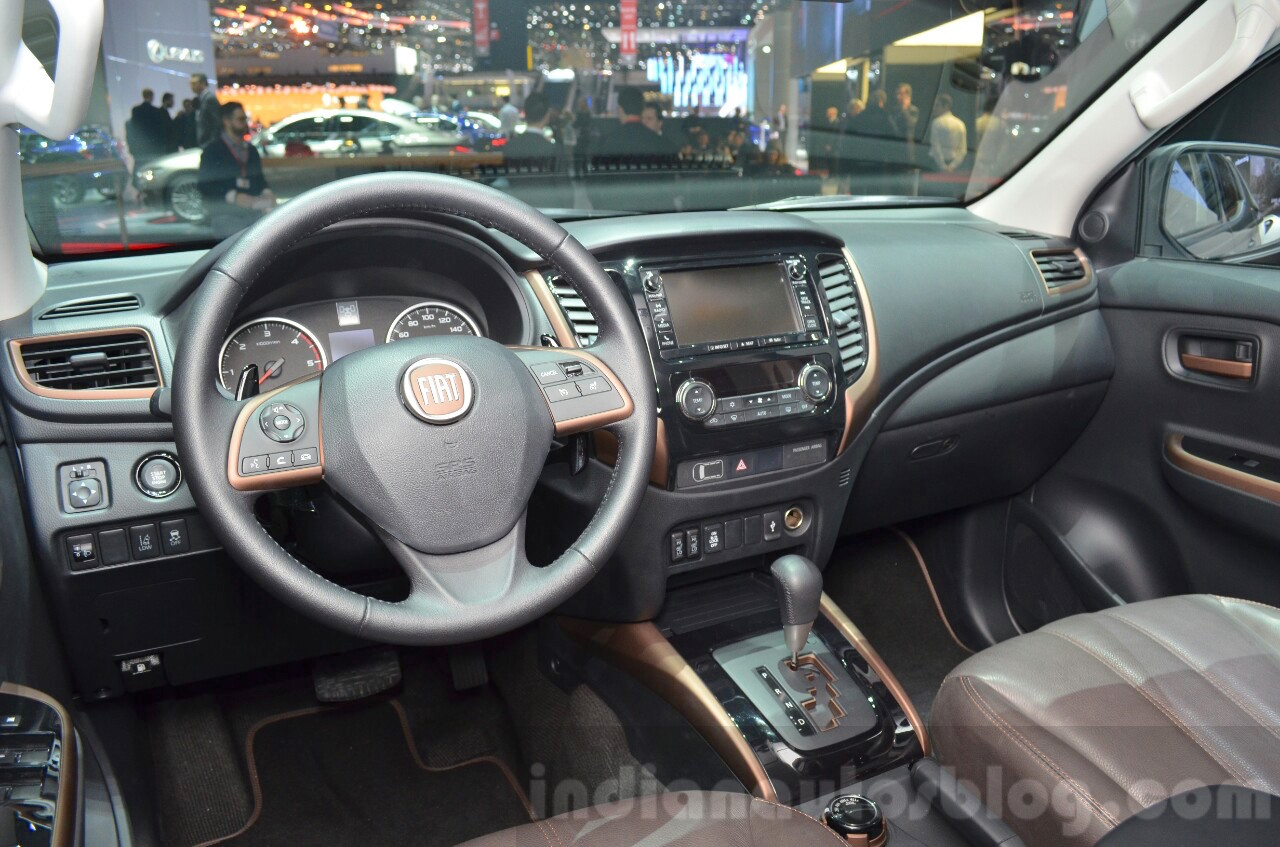 astounding-design-of-the-blak-dash-added-with-black-steering-wheel-and-brown-leather-seats-as-the-fiat-fullback-2016-interior